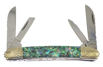"CSW-516ABG SWAYBACK GRN CRSH ABALONE 3 7/8"" [Cherokee Stoneworks]"