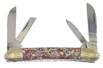 "CSW-516ABR 3 7/8"" SWAYBACK RD CRSH ABABLONE [Cherokee Stoneworks]"